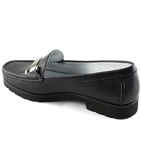 Vera Pelle Da Donna Realizzata In Brasile Tribeca Con Fibbia Mocassino Marc Joseph Ny Fashion Shoes Nero Granuloso