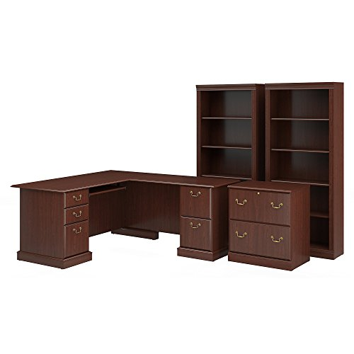 Saratoga L Shaped Computer Desk, Lateral File Cabinet and Two 5 Shelf Bookcases in Harvest Cherry