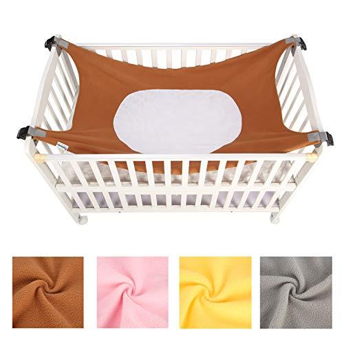 Caroeas Babycare Baby Hammock, Cozy As Womb Baby Crib Hammock, Adjustable Straps Fits Most Cribs, Enhanced Safety Measures Baby Hammock for Crib, Nursery Baby Hammock Swing (Brown)