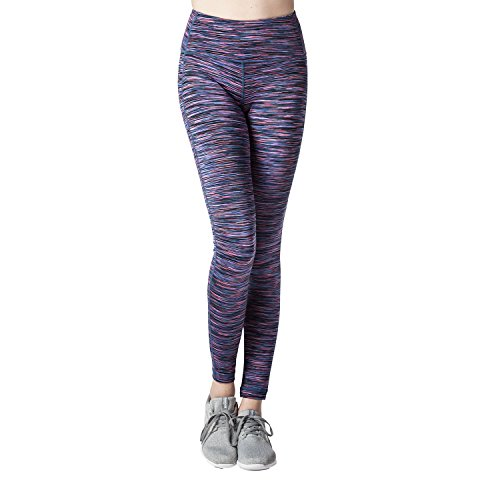 Lapasa Women's Yoga Pants Leggings High Waist Tommy Control Workout Running Tights w Hidden Pocket L01 (X-Large, Purple Space Dye)