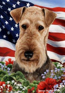 Airedale Dog - Tamara Burnett Patriotic I Garden Dog Breed Flag 12'' x (Airedale Flag)
