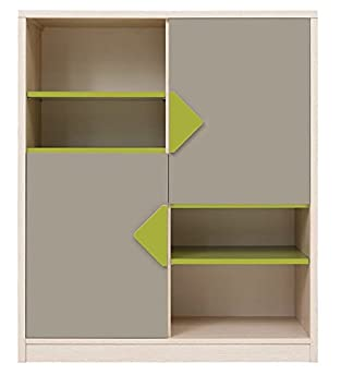 b5afe23ba0bc Black Red White STARKA - Modern - Two Door System - Quality Display Cabinet  - Bright Oak Grey Green Body - Perfect Children Teenager Room   Amazon.co.uk  ...