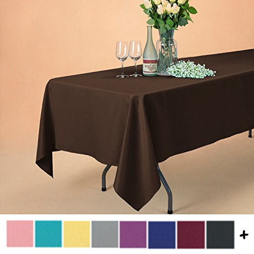 Rectangle Chocolate (Remedios 60 x 102-inch Rectangle Polyester Tablecloth Table Cover - Wedding Restaurant Party Banquet Decoration, Chocolate)