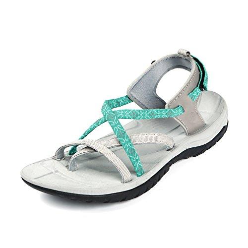 Northside Women's Covina Sandal, Gray/Aqua, 9 B(M) (Wading Sandal)
