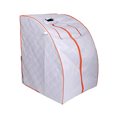 ALEKO PIN11SY Personal Folding Portable Home Infrared Sauna w/ Folding Chair and Foot Pad, Silver w/ Orange Trim Color