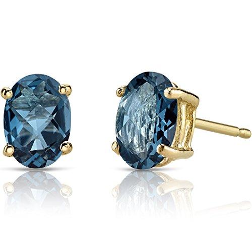 14K Yellow Gold Oval Shape 1.75 Carats London Blue Topaz Stud Earrings