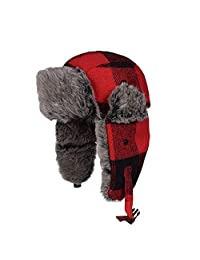 Molie Trapper Hat with Faux Fur Thickened Velvet Flying Caps Windproof Warm Hat Ski Cap Winter Knit Trapper Pilot Aviator Cap for Men and Women Outdoor Cycling