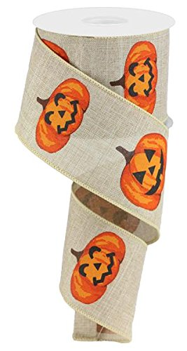 Jack O Lantern Pumpkins Wired Edge Ribbon, 2.5