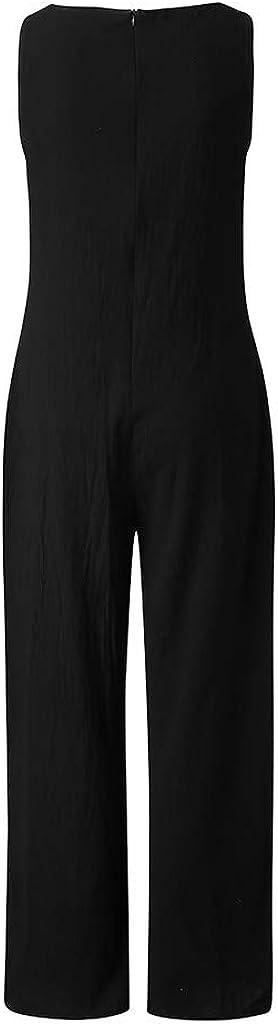 Sommer Damen Jumpsuit Elegant Baumwolle Playsuit Overall Lang Breites Bein Hosen Frauen Casual Stil Leinen Rompers Lose Hosenanzug