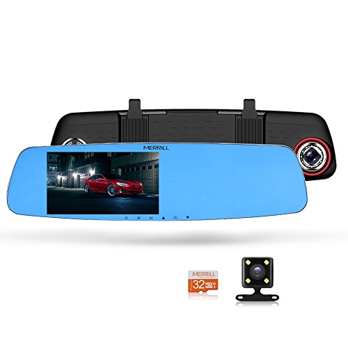 "MERRILL Rear View Mirror Dash Cam 5.0"" LCD 1080p 170° Wide Angle Dual Cameras with G-sensor, Parking Monitor, Night Vision, 16GB SD Card"