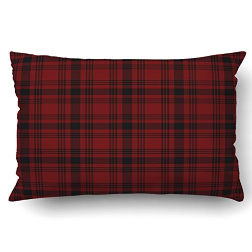 British Colonial Fabric - Emvency Pillow Covers Decorative Red Scottish Tartan Plaid Bulk With Zippered 20x30 Queen Pillow Case For Home Bed Couch Sofa Car One Sided