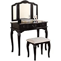 Poundex Bobkona Susana Tri-fold Mirror Vanity Table with Stool Set, Black
