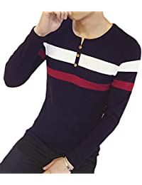 Men's Henley T-Shirt Striped Long-Sleeve Button Crew Neck Top Tees