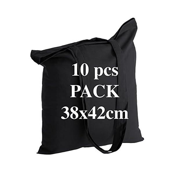 POLHIM Borsa shopper in cotone di qualità 10 pezzi 145 g/m2 dimensioni 38x42 cm manici lunghi 70 cm Nero 100% cotone. Il… 1 spesavip