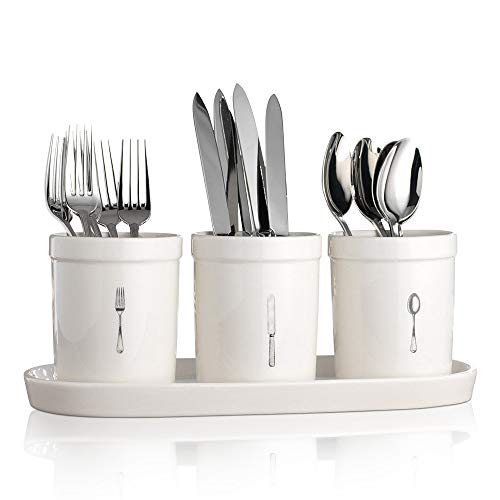 Emenest Flatware Organizer Set, 4-pc Ceramic Utensil Crocks on Tray - Printed Mugs on Stoneware Caddy - Home and Party Dinnerware Set