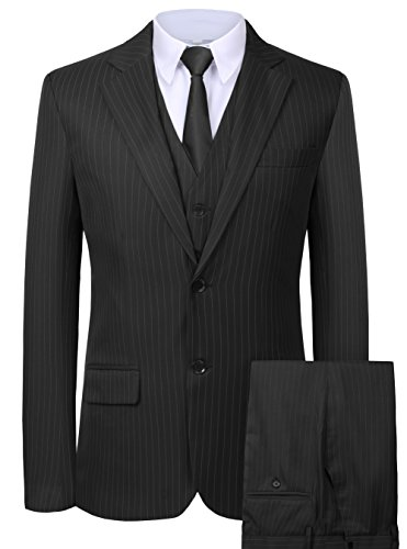 Hanayome Men's 3 Pieces Business Suits Slim Fit Stripe Blazer Jacket Vest Pants Set SI137 (Black,40)