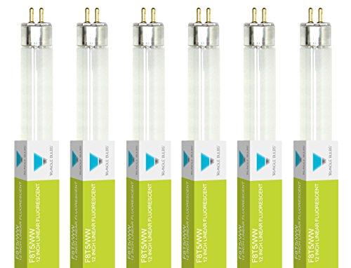 Triangle Bulbs T30021-6 (6 pack) - F8T5/WW, 8 Watt, T5, 3000K Warm White, 12 Straight Fluorescent Tube Light Bulb, 6  Pack