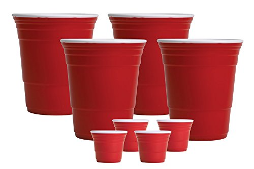 Red Cup Living Drinking Gifts Set - 32oz Beverage Cups/2oz Shooters - 4 Cups Each - Reusable, Plastic, FDA Approved