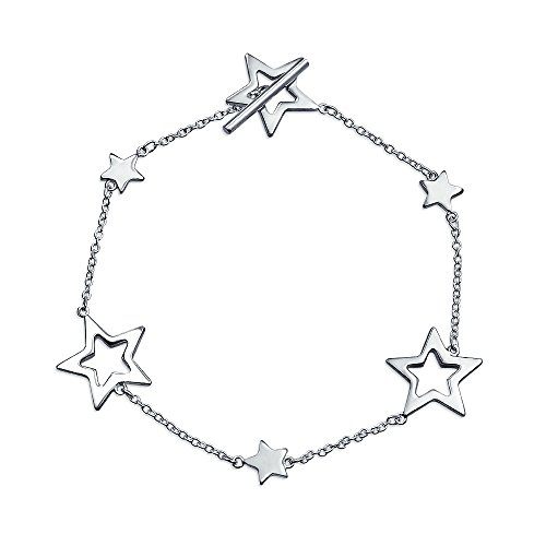 Patriotic Open Lucky Stars Rock Star Bracelet For Women For Teen Polished 925 Sterling Silver Toggle Clasp