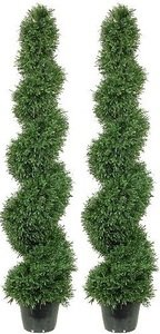 Silk Tree Warehouse Two 5 Foot Outdoor Artificial Rosemary Spiral Topiary Trees Uv Rated Potted Plants