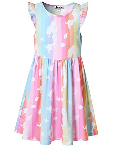 Mermaid Dresses for Princess Girls 10 12 Flutter Sleeve Swing Summer Beach Party