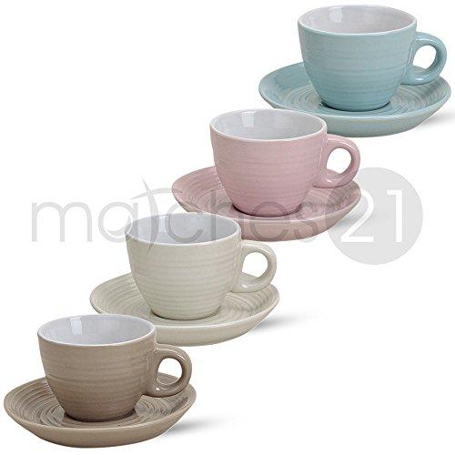 Espressotassen Tassen Becher 8-tlg. Set Pastellfarben beige creme rosa blau aus Porzellan gefertigt, je 5 cm hoch / 50 ml
