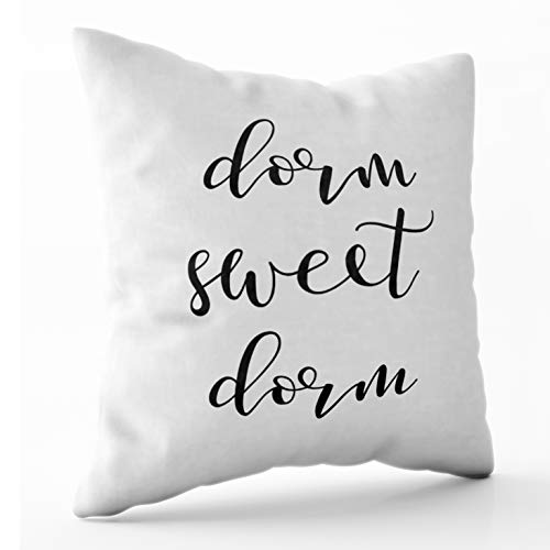 Shorping Zippered Pillow Covers Pillowcases 16X16 Inch modern typography black and white dorm sweet dorm Decorative Throw Pillow Cover ,Pillow Cases Cushion Cover for Home Sofa Bedding (Bedding Decor Dorm)