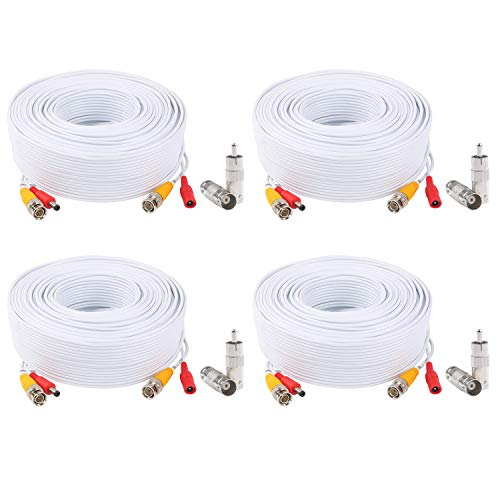 Tonton 4-Pack 100 Feet 30Metres Pre-Made All-in-One BNC Cables for Security Camera System and CCTV Bullet Cameras or Dome Cameras(White)
