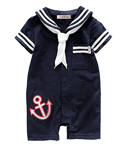 StylesILove Infant Toddler Baby Boy Sailor Anchor Costume Romper (100/18-24 Months, Navy Blue)