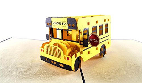 Teacher Bus (iGifts And Cards School Bus 3D Pop Up Greeting Card - Yellow, Transports Students, Stop Sign, Pick Up - Folds Flat - Get Well, Graduation, Iconic, Just Because, Father's Day, Mother's Day)