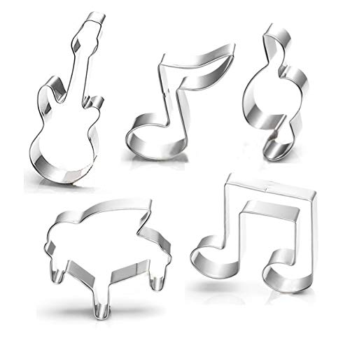 WOTOY Guitar, Piano,Musical Notes Sign Music Theme Biscuit Cookie Cutter 5 Piece Set - Stainless Steel