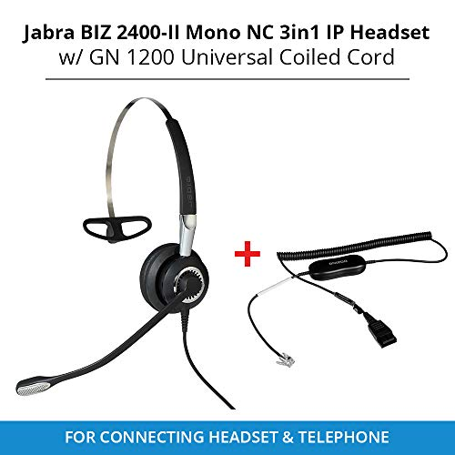 Jabra Biz 2400-II Mono NC 3in1 IP Headset with GN 1200 Universal Coiled Smart Cord for Connecting Headset & Telephone ()