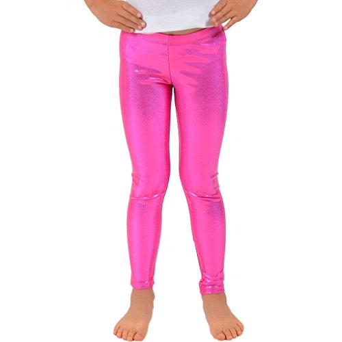 Stretch is Comfort Girl's Metallic Mystique Leggings Hot Pink Small -