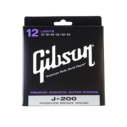 Gibson J-200 Phosphor Bronze Acoustic Guitar Strings, Lights 12-53