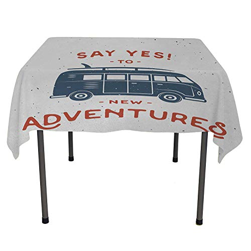 - All of better Vintage Outdoor Picnics New Adventures Typography with Little Van Hippie Lifestyle Free Spirit Print Cadet Blue White wayerproof Table Cloth Spring/Summer/Party/Picnic 60 by 90