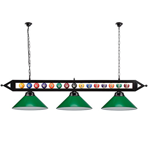 "59"" Metal Hanging Billiard Pool Table Lighting Fixture with 3 Lamp Shades- Available in Green & Black (Green)"