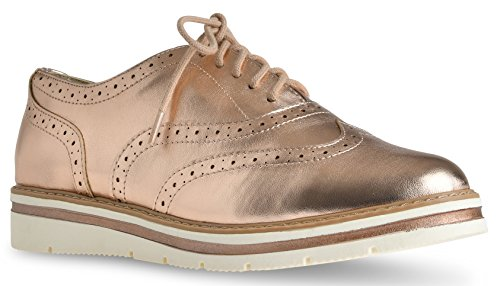 LUSTHAVE Women's Tinsley Lace Up Platform Brogue Trim Oxford Flats Sneakers Loafers Dark Penny 7.5