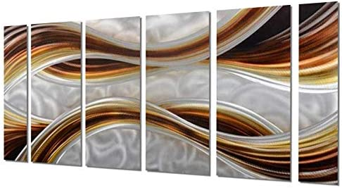 Yihui Arts Brown Wall Art Metal Handmade Popular Group Abstract Artwork with Hanger Ready to Hang for Office Total Size 24x64IN