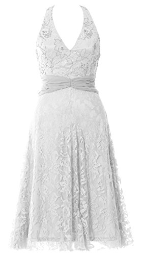 MACloth Women Halter Beaded Lace Short Formal Cocktail Party Dress Evening Gown Blanco