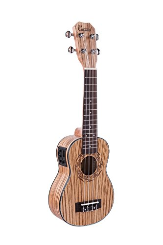 Caramel CS100 Zebra Wood Soprano Acoustic Electric Ukulele