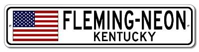 The Lizton Sign Shop Fleming-Neon, Kentucky Aluminum America Flag Sign, USA Custom Flag Sign