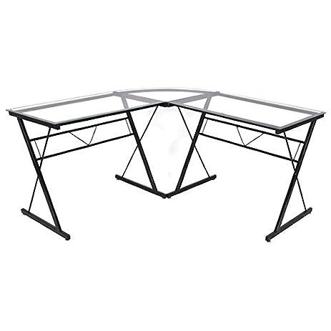 Amazoncom Tempered Glass LShape Computer Desk Laptop Notebook - Large office work table