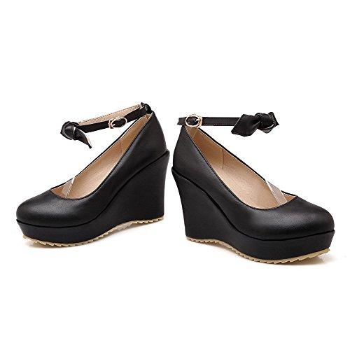 Naisten Pu Suljetun Solki Pumput Musta Toe Korkokengät Allhqfashion Pyöreä kengät Solid ZxdwZY