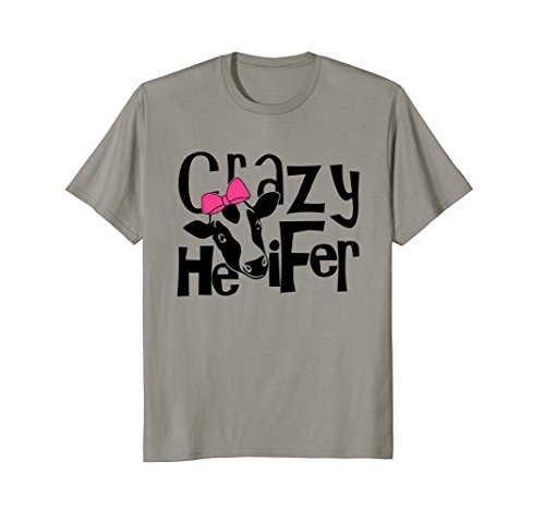 Funny Crazy Heifer Cows with Bandana Pink T-Shirt for (Cow Womens Pink T-shirt)