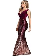 Ever-Pretty Women's Double V-Neck Sequins Patchwork Mermaid Dress 7767