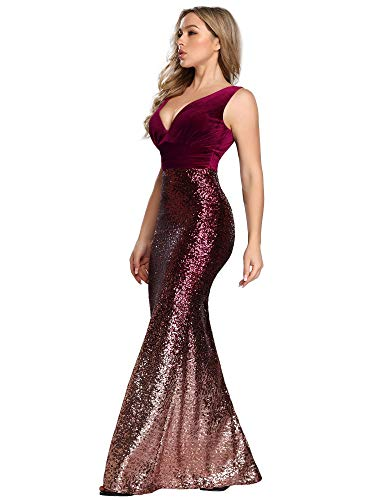 Ever-Pretty Women Long Velvet and Sequin Mermaid Prom Dresses Burgundy US18