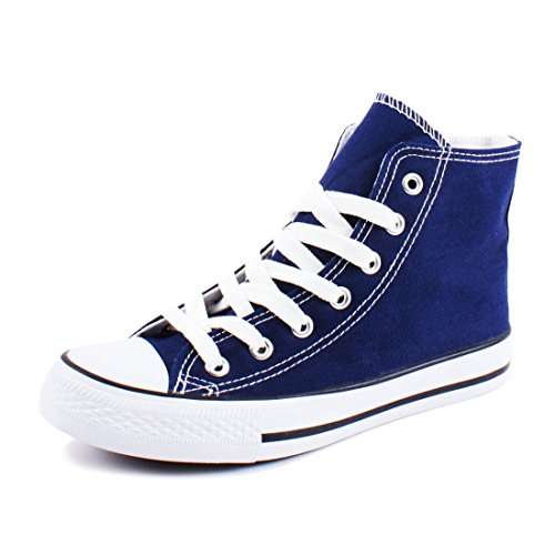 Sneaker Damen Navy Canvas High Turnschuhe Top Schuhe Textil q6H6TZw