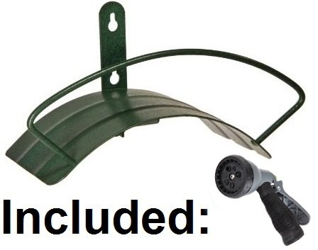 Quality Choices Wall Mount Garden Hose Hanger/Holder. Including Spray Nozzle- Green Review