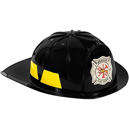 [Fireman Hat - Fireman Costume for Kids - Black Hard Hat by Funny Party Hats] (Police Chief Child Hat)