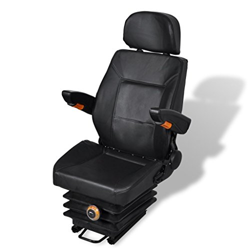 Anself Black Tractor Seat with Fabric Insert High Back, Arm Rest, Head Rest and Spring ()